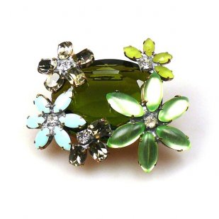 Elipse and Flowers Brooch ~ Olive Green