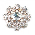 Aztec Sun Brooch ~ Clear Crystal