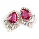 Paris Charm Pierced Earrings ~ Crystal with Fuchsia