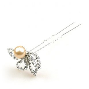 Zephyr Hair Pin with Bead ~ Silver Plated