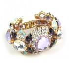 Honey Darling Clamper Bracelet ~ Violet Clear Crystal