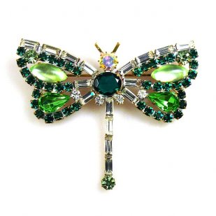 Dragonfly Baguette Stones ~ Green Clear
