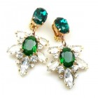 Xantypa Earrings Clips ~ Clear Crystal with Emerald