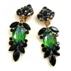 Iris Grande Clips Earrings ~ Silver Green Black