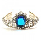 Gods Eye Tiara Large ~ Clear Crystal Capri Blue