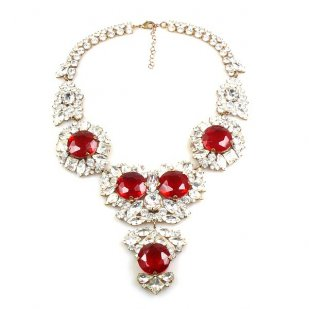 Sweet Temptation Necklace ~ Clear Crystal with Red
