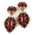 Alchemy Glam Earrings Clips ~ Ruby Red with Black