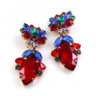 Floralie Earrings with Clips ~ Red with Blue and Green