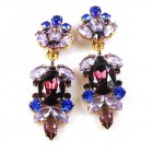 Iris Grande Clips Earrings ~ Purple Blue
