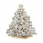 Xmas Tree Brooch #10 ~ Clear Crystal