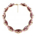 Navette Necklace ~ Purple Pink AB