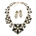 Fantasme Necklace Set with Earrings ~ Black Clear Crystal