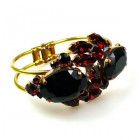 Dragon Eyes Clamper Bracelet ~ Black and Ruby Red