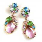 Fountain Earrings for Pierced Ears ~ Pastel Tones with Pink