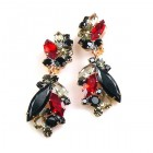 Prelude Earrings Clips ~ Red Black