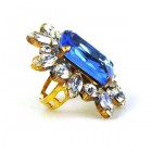 Naomi Ring Extra Big ~ Clear and Sapphire Blue