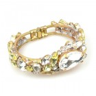 Fountain Clamper Bracelet ~ Clear Crystal with Yellow