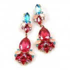 Fancy Essence Earrings Pierced ~ Fuchsia Aqua