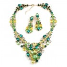 Dione Necklace Set with Earings ~ Green Tones with Yellow
