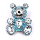 Teddy Bear Pin ~ Clear Crystal and Aqua