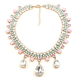 Raindrops Necklace ~ Pastel Colors with Clear Crystal and Pink