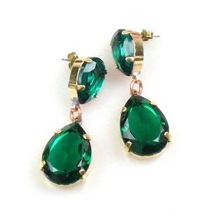 Raindrops Earrings Pierced ~ Emerald
