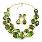 Dainty Delights Necklace with Earrings ~ Olive Green