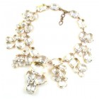 Swirling Crystals ~ Clear Crystal Huge Necklace