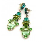Xanthe Earrings Pierced ~ Green Olive Emerald