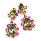 Heritage of History Earrings Clips ~ Vitrail Pink Olive