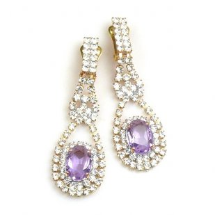 Moon Dream Earrings with Clips ~ Crystal with Violet