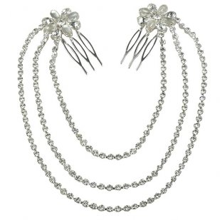Zephyr Hair Comb ~ Pair with Chains ~ Silver Plated