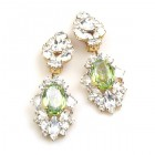 Crystal Gate Clips-on Earrings ~ Silver Lime Green