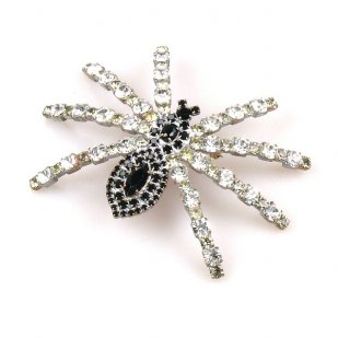 Tarantula Brooch ~ Black and Clear Crystal