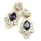 Beaute Earrings with Clips ~ Crystal with Silver Purple