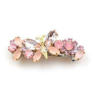 Barrette Clip with Butterfly ~ Pink Rose