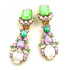 Miracle Clips-on Earrings ~ Opaque White with Green