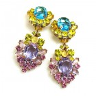 Aztec Sun Earrings Clips ~ Aqua Yellow Violet