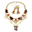 Picasso Jewelry Set with Earrings ~ Maroon with Colors