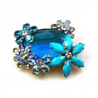 Elipse and Flowers Brooch ~ Aqua