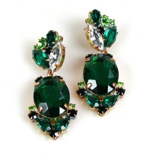 Mythique Earrings for Pierced Ears ~ Emerald