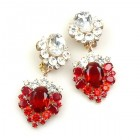 Aztec Sun Earrings Clips ~ Red with Clear Crystal
