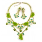 Picasso Jewelry Set with Earrings ~ Olive Green