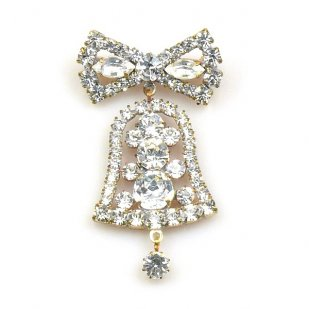 Clear Crystal Bell with Bow ~ Pin