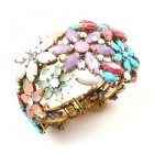 True Love ~ Clamper Bracelet with Flowers ~ Opaque Tones