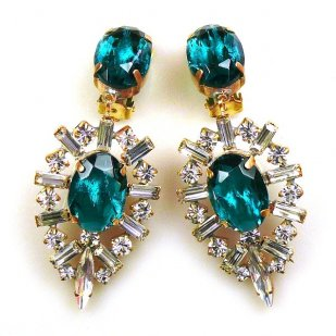 Ella Earrings Clips ~ Baguettes and Ovals ~ Emerald