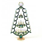 Xmas Tree Stand-up with Candles 20cm ~ Clear Emerald