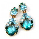 Iris Earrings Clips-on ~ Extra Aqua Emerald