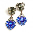 Aztec Sun Earrings Pierced ~ Blue with Black Diamond