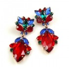 Floralie Earrings Pierced ~ Red with Blue and Green